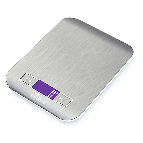GPISEN Smart Digital Balance avec écran LCD pour Cuisine en acier inoxydable, 5 kg/11lbs, Balance de alimentaire multifonctionnel, couleur argent, (2 batteries incluses)