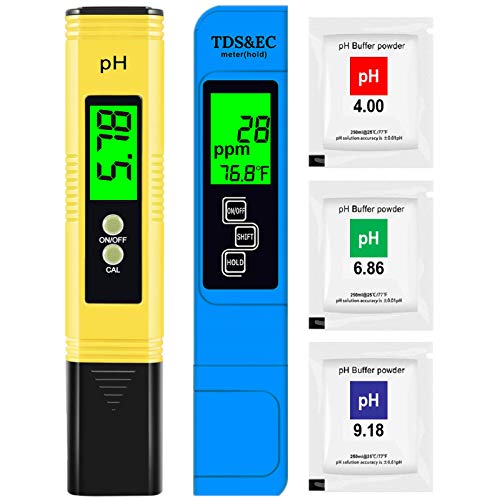 Hofun PH Meter & TDS Meter Combo, Upgraded Backlight PH TDS EC & Temperature 4-in-1 Water Quality Tester, High Accuracy Digital Water Tester for Household Drinking, Pool and Aquarium