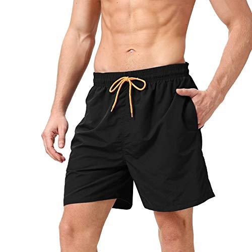 anqier Badeshorts für Männer Badehose für Herren Jungen Schnelltrocknend Schwimmhose Strand Shorts,Schwarz,L(EU)-MarkeGröße:XL-Taille 88-98cm