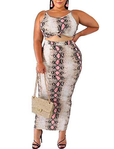 Women's Sexy Plus Size 2 Piece Midi Dress Outfits-Snake Print Tank Crop Top + Midi Bodycon Skirt Set XXL