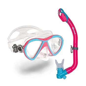 Cobalt Komodo Kids Snorkel Combo - Anti-Fog Anti-Leak Mask and Dry-Top Snorkel Set for Youth and Junior Snorkeling Scuba Diving  Pink/Aqua