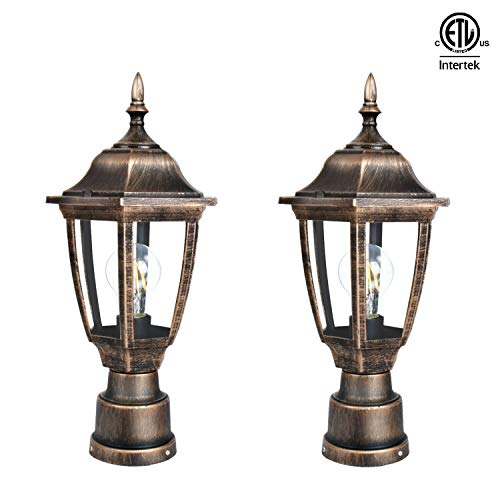 FUDESY 2-Pack Post Light Fixtures Outdoor,Plastic LED Black-Golden Post Lanterns Include 8W 1200LM Edison Filament Bulb(Corded-Electric), FDS2543G