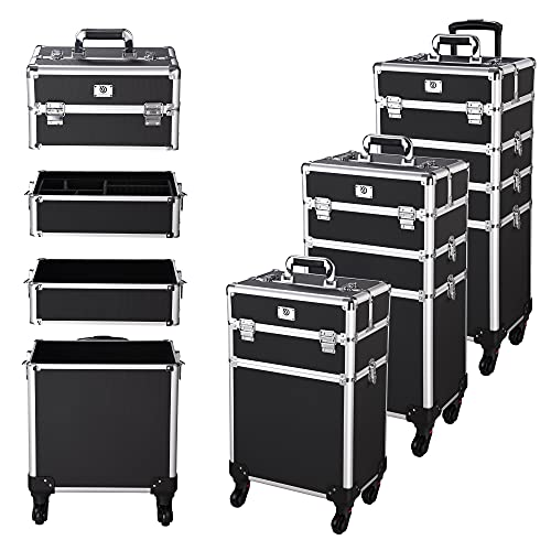 Byootique Classic Black Rolling Makeup Case 4in1 Cosmetic Lockable Trolley Freelance Makeup Artist Travel Train Case Storage