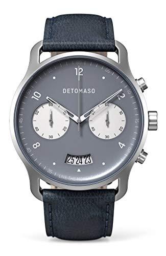 DETOMASO SORPASSO Cronografo bicolore, orologio da polso da uomo, analogico, al quarzo, cinturino in pelle italiana blu