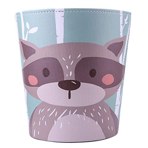 Batop Papierkorb Kinder, 10L PU Leder Wasserdicht Papierkorb Kinderzimmer Mülleimer mit Waschbär Motif Dekorativ Papierkorb, 27x25x20cm (Waschbär)
