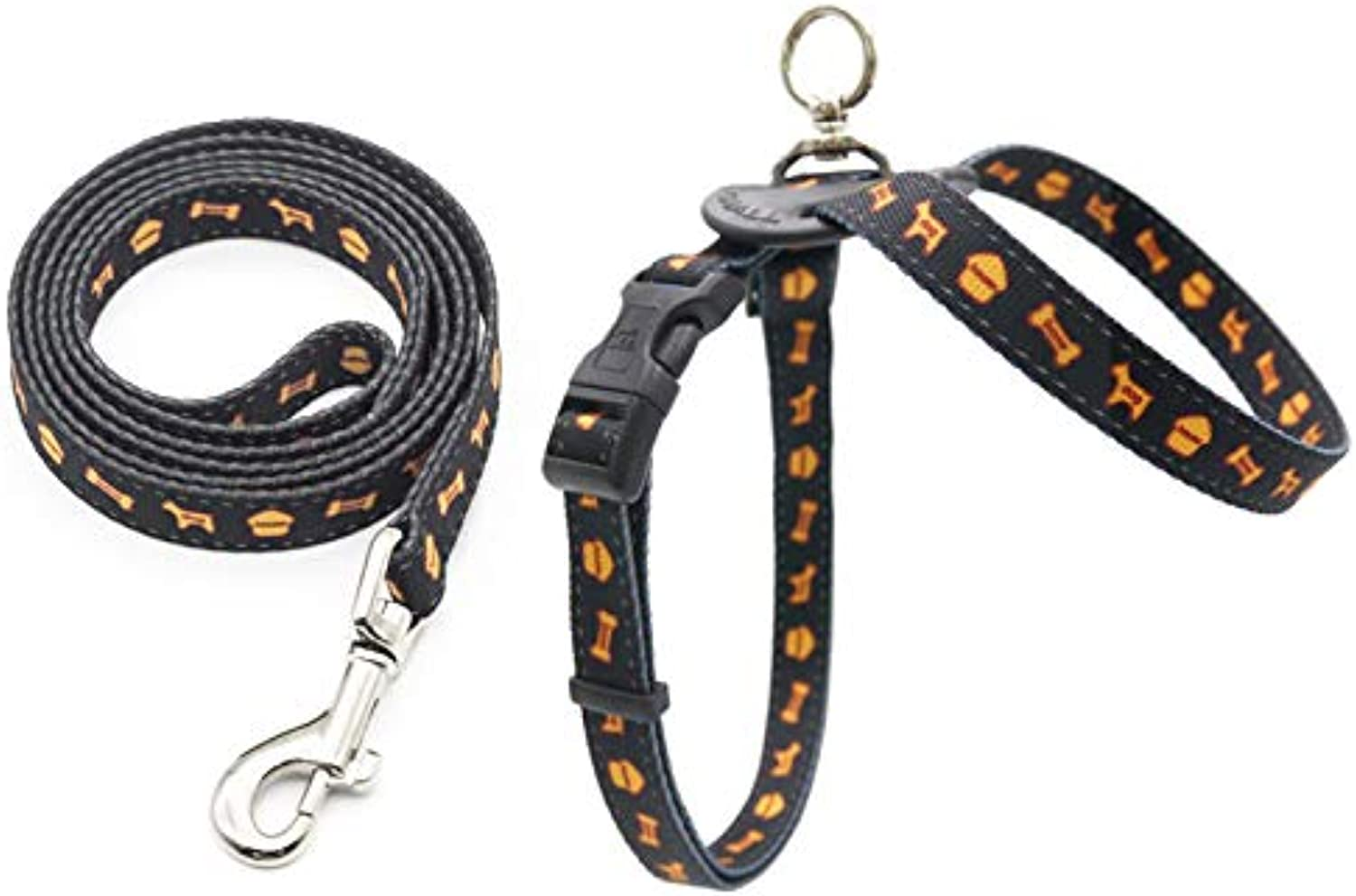CHEN. Pet chest straps  dog rope reflective chest and abdomen straps out traction pet supplies (chest strap + traction rope),Black,M