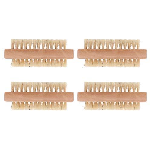 Lurrose 4 pezzi spazzolino per unghie in legno spazzole per pulizia spazzole spazzola per pulizia a doppia faccia a mano