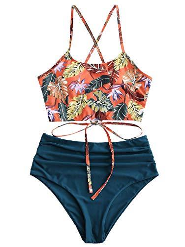 ZAFUL Damen Zweiteiliger Bikinis, gepolsterter Badeanzug mit Blattdruck Schnür-Tankini Oberteil hochtaillierte Shorts gemischter Badeanzug (Pfauenblau, S-EU 36)
