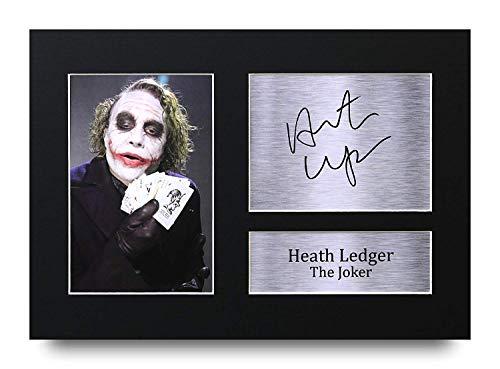 HWC Trading Heath Ledger A4 Sin Marco Regalo De Visualizacion De Fotos De Impresion De Imagen Impresa Autografo Firmado por The Joker Batman Los Aficionados Al Cine