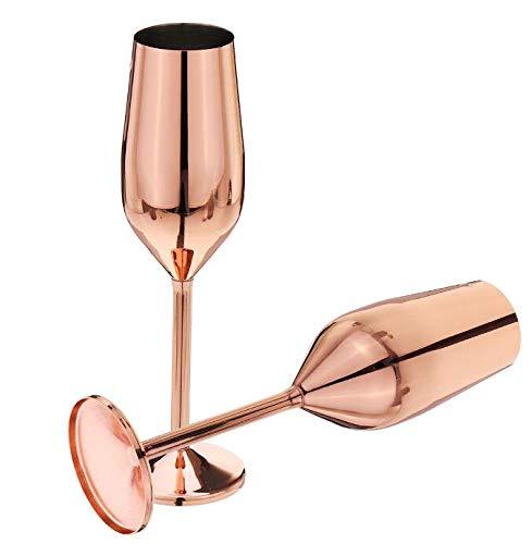 Sektgläser Edelstahl 200 ml rose gold, unzerbrechlich, BPA-frei, für Hochzeit Partys und Jahrestag, 3 Farben, Edelstahl, rose gold, 200 ml…