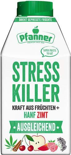 Pfanner Super Fruits To Go Stresskiller AUSGLEICHEND, Kraft aus Früchten + Hanf + Zimt, direkt gepresst - 8x 500 ml