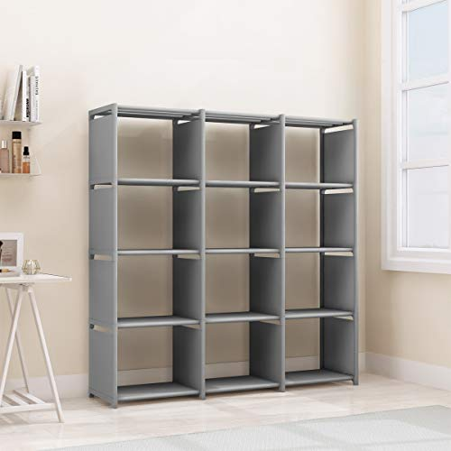 Rerii Cube Storage, 12 Cubes Organizer Shelves, Bedroom Storage, Closet Organizer, Standing Book Shelves for Living Room, Study Room, Office