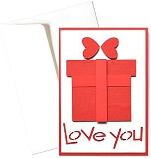 Love you - pacchetto - regalo - san valentino - biglietto d'auguri (formato 15 x 10,5 cm) - vuoto all'interno, ideale per ...
