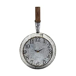 CC Home Furnishings 19 Distressed Brown and Galvanized Gray Hanging Round Wall Clock