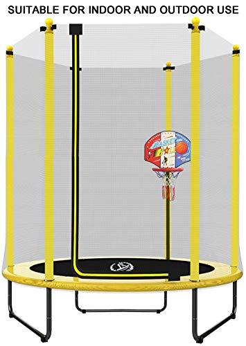 LANGXUN Dia 150 x H 180 cm Gelbes Trampolin mit Basketballständer, Sicherheitsnetz, Innen- / Außenbereich für Kinder, ideal zum Geburtstag