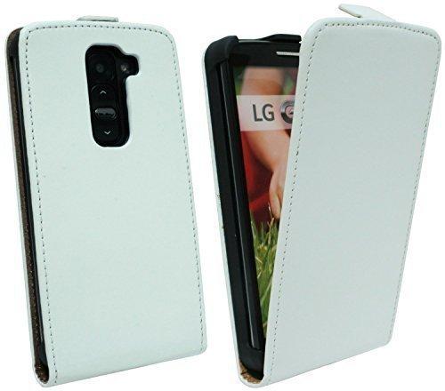 ENERGMiX Klapptasche Schutztasche kompatibel mit LG G2 Mini D620R in Weiss Tasche Hülle
