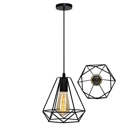 STOEX Lustre Suspension Industrielle Cage Géométrie Nid Style Vintage, Lampe de Plafond Métal Luminaire Abat-Jour, Noir