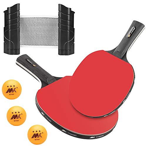 LangRay Tischtennis-Set, Tischtennis Netze Ping Pong Net, Tragbar, Einziehbar, Enthält 2 Tischtennisschläger + Tischtennisnetz + 3 Bälle + Aufbewahrungsbeutel, Einstellbare Länge 190 (max.) x 13,5 cm