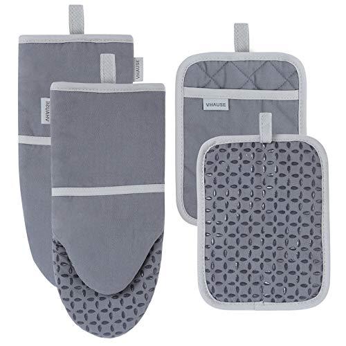 VHAUSE - Set of 4 Juego de guantes para horno y agarraderas de algodón - guantes y almohadillas con protección antideslizante de silicona resistente al calor 235°C para hornear, cocinar