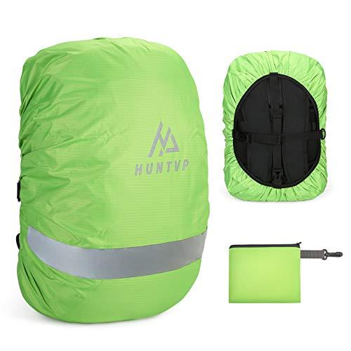 Huntvp Funda Impermeable para Mochila con Banda Reflectante, Cubierta de Mochila para Lluvia Nieve Viajes Camping Ciclismo Senderismo, Verde-S