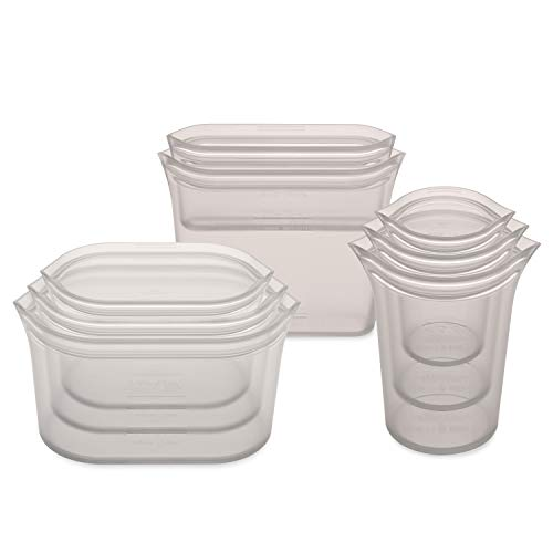 Zip Top Reusable 100% Silicone Food Storage Bags and Containers, Made in the USA - Full Set- 3 Cups, 3 Dishes & 2 Bags - Gray