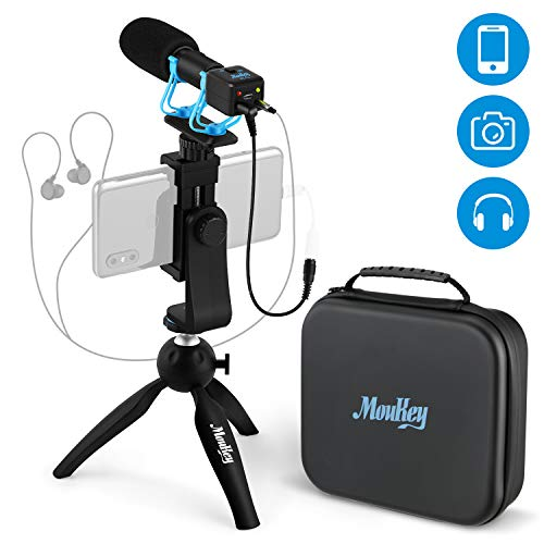 Moukey Smartphone DSLR Camera Microphone, with Monitoring Function, Mini Tripod,IP4 Waterproof Box,External Video Shotgun Mic for Phone, Smartphone, Canon/Nikon/Sony Camera -Perfect Vlogging, YouTube