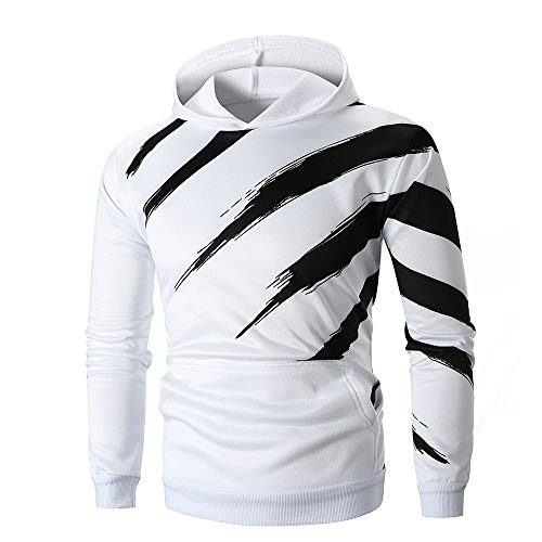 MRULIC Herren Langarm Gestreift Kapuzenpullover mit Kapuze Sweatshirt Outwear Hoodie Streetwear RH-035(Weiß,EU-46/CN-L)