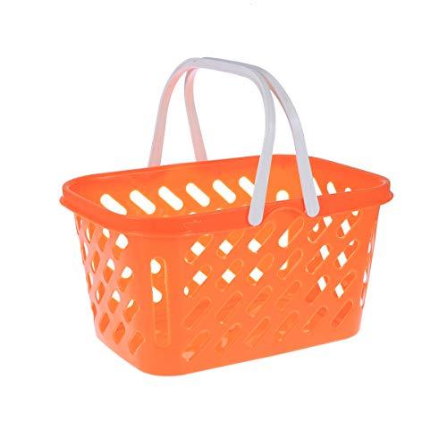Toyvian Cesta de Compras portátil, Juguetes con asa, Cesta organizadora de Almacenamiento (Naranja)