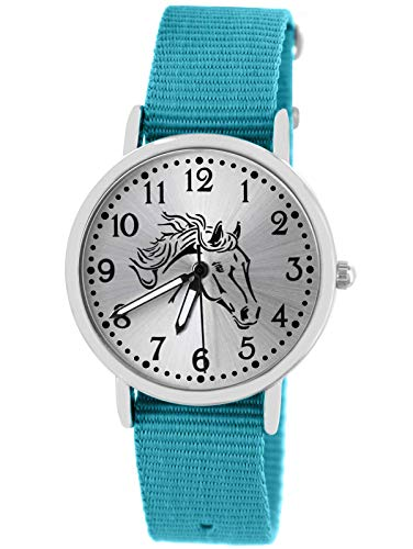 Pacific Time Kinder Uhr analog Quarz mit Textilarmband 10408