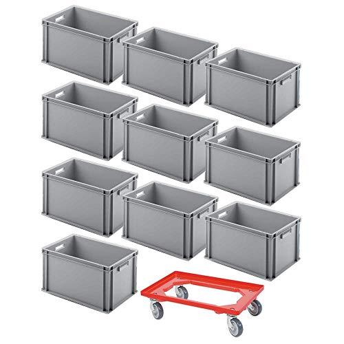 10er SPAR-Set Euro-Behälter PLUS GRATIS Transportroller, 600x400x320 mm Industriequalität lebensmittelecht grau