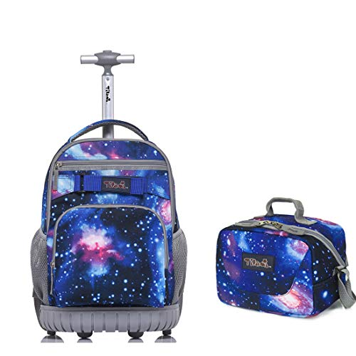 Tilami Rolling Backpack Laptop 18 inch with Lunch Bag, Galaxy