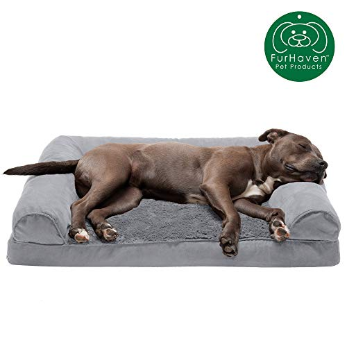 Furhaven Pet Dog Bed - Orthopedic Ultra Plush Faux Fur and...