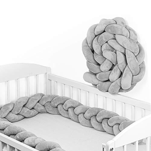 Bettschlange Baby geflochten Bettumrandung - Bettrolle für Babybett nestchen schlange Nestchenschlange Grau Zopf mit drei Strängen 150 cm