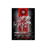 桜のアートポスターとプリントの下のサムライソード壁アートキャンバス絵画写真リビングルーム家の装飾部屋の装飾50x70cmフレームレス