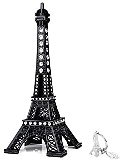 SiCoHome Eiffel Tower Cake Topper 7.0inch Black with Blings Figurine Replica Centerpiece Room Table Eiffel Tower Decor Fre...