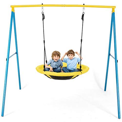 COSTWAY Nestschuakel mit Schaukelgestell, Hängeschaukel 100-130cm verstellbar, Gartenschaukel Metallahmen Spielplatz 196x180x185cm