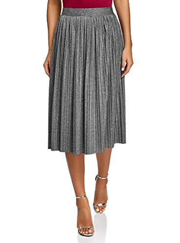 oodji Collection Damen Plissierter Midi-Rock mit Lurex, Silber, DE 34 / EU 36 / XS