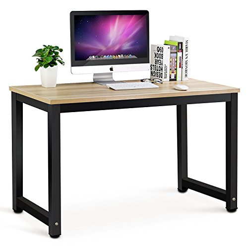 Tribesigns Modern Simple Style Computer Desk PC Laptop Study Table Office Desk Workstation for Home Office, Teak + Black Leg