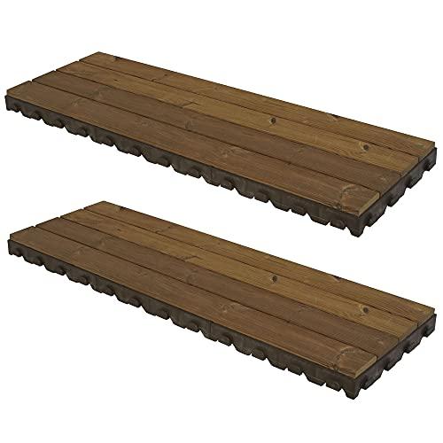 WellHome PK3661 Pack Madera para Suelo (jardín, terraza, Piscina, Camping, balcón, Exterior) Combi-Wood, 117x39 6,5 cms. de Alto 1m²: 2 Baldosa/Lamas