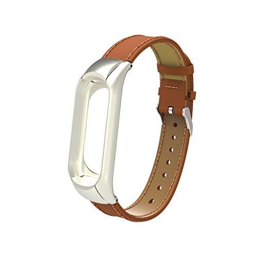 iMounTop Xiaomi Mi Band 3 Cinturino di ricambio in pelle PU Cinturino Bracelet fibbia con clip Clasp per Xiaomi Mi Band 3 braccialetto Smart (Nota: il Tracker non incluso)