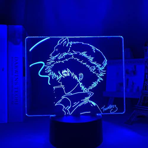 Lámpara 3d Anime Cowboy Bebop para decoración de dormitorio de niños Luz de noche Regalo de cumpleaños Sala de Manga Escritorio Luz Led Cowboy Bebop
