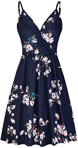 STYLEWORD Women s V Neck Floral Spaghetti Strap Summer Casual Swing Dress with Pocket floral01 product image