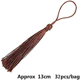 Laliva Accessories - 32pcs/lot 13cm Thread Long Tassel Earring Charms Polyester Silk Satin Tassel Trims for DIY Jewelry Making Findings - (Color: Brown)