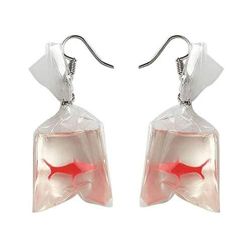 Pu Ran Orecchini pendenti da donna con ciondolo a forma di sacchetto d'acqua con pesce rosso, splendida idea regalo e Acrilico, colore: Come mostrato, cod. 1201