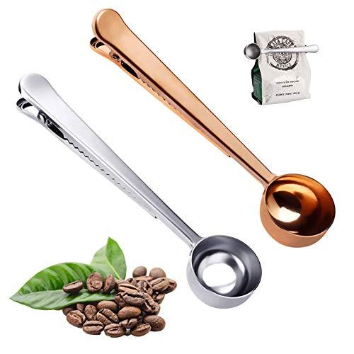 Cuchara de café con clip para bolsa, 2 piezas de acero inoxidable 2 en 1 Cuchara medidora de café con clip de sellado de bolsa para café molido, granos de café, leche en polvo (plata + oro rosa)