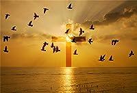 GooEoo 5x3ftビニールイースターの写真撮影の背景まばゆいばかりの太陽の光夕焼け飛ぶ鳥要約海の上の雄大な十字架キリスト教のシンボル信念聖書学校教会壁画