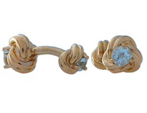 2,5-karätiger, natürlicher Aquamarinknoten, Manschettenknöpfe mit 14-karätigem Rotgold vergoldetes Sterlingsilber