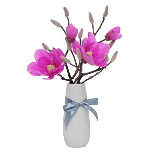 Kunstmatige Magnolia Boeketten met keramische Vaas Fake Bloemen van de zijde decoratie for woon- / slaapkamer (Color : A)