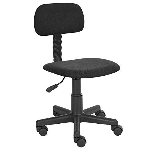 FurnitureR - Sedia da scrivania, per lavorare al computer in casa e in ufficio, con schienale intermedio, regolabile, con rotelle, ideale per lo studio dei bambini Nero Black