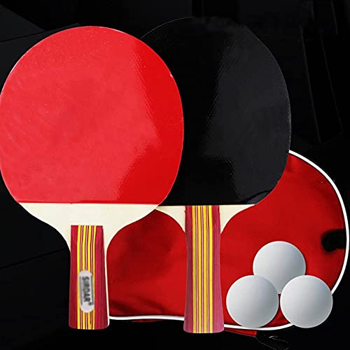 JIANGCJ bajo Precio. Raqueta de Tenis de Mesa: Paleta de Ping Pong Profesional con Estuche de Transporte - Caucho Aprobado por ITTF for Juego de torneos, Familia Ping Pong Racket-C